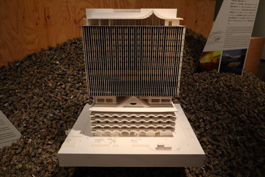 隈研吾展のホテルロイヤルクラシック大阪の建築模型