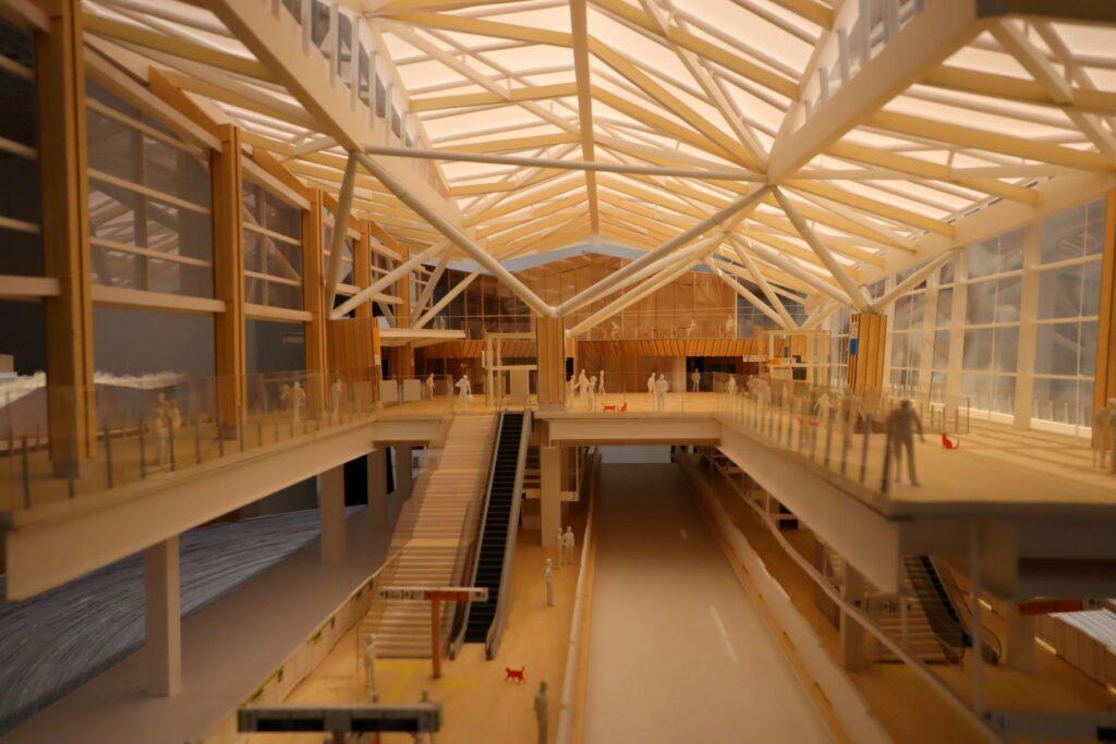 隈研吾展の高輪ゲートウェイ駅の建築模型