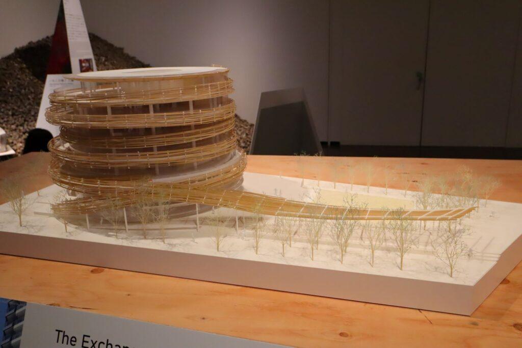 隈研吾展のThe Exchangeの建築模型