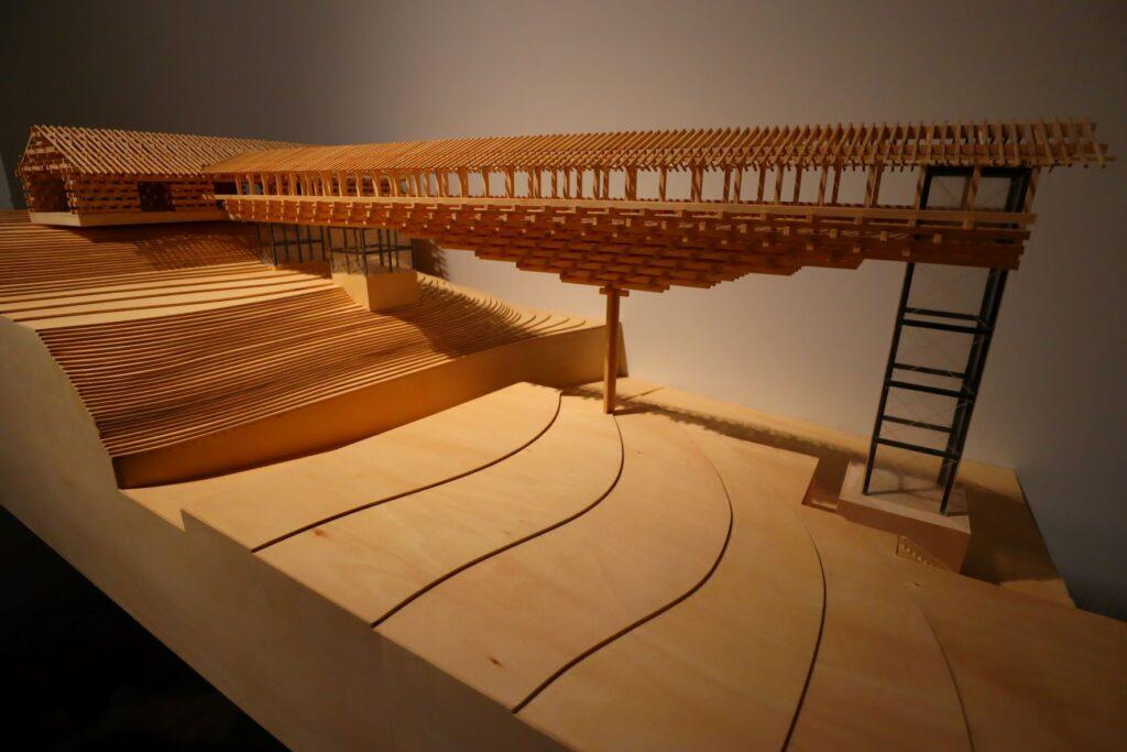 隈研吾展の梼原木橋ミュージアムの建築模型
