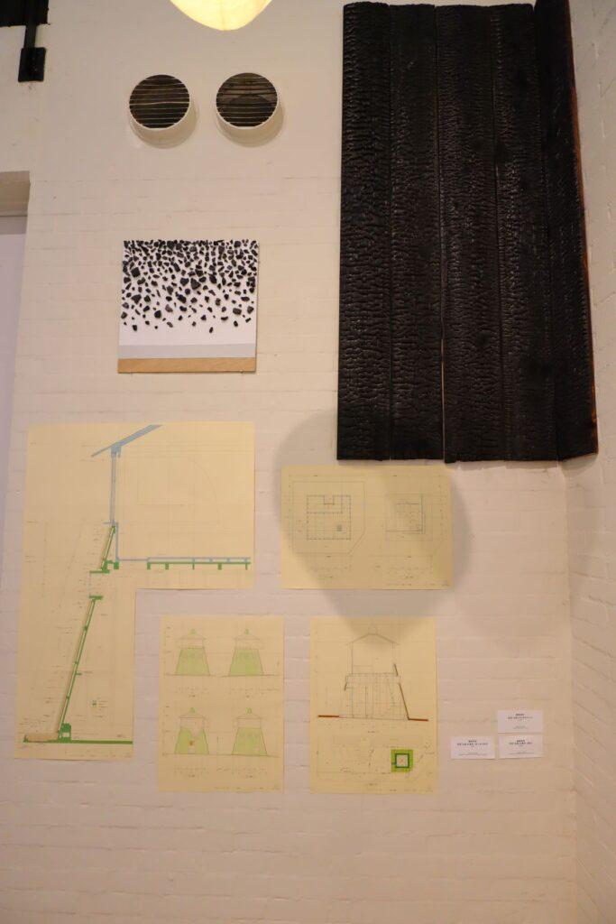 パビリオン・トウキョウ2021展の茶室「五庵」(藤森照信)の部材モックアップと図面