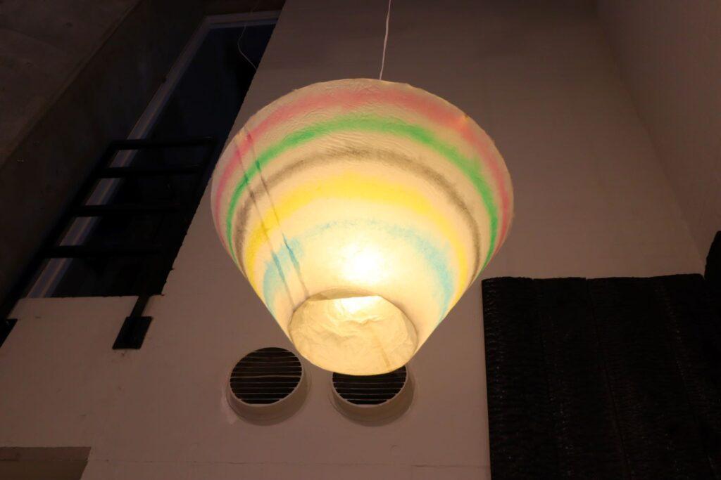 パビリオン・トウキョウ2021展の茶室「五庵」(藤森照信)の照明モックアップ