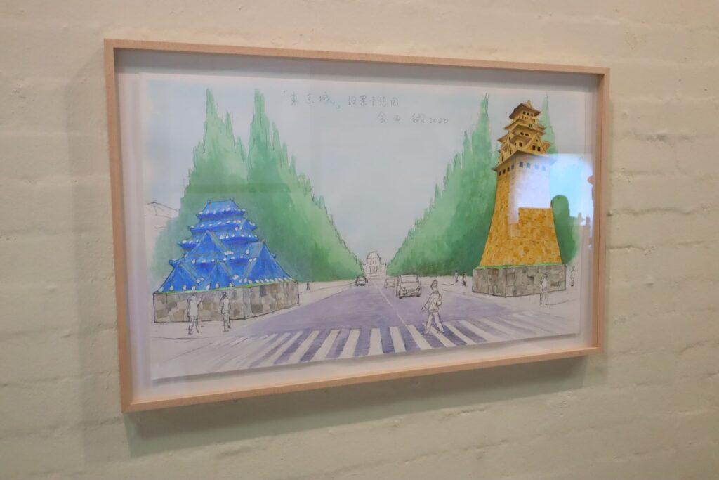 パビリオン・トウキョウ2021展の東京城(会田誠)のパース