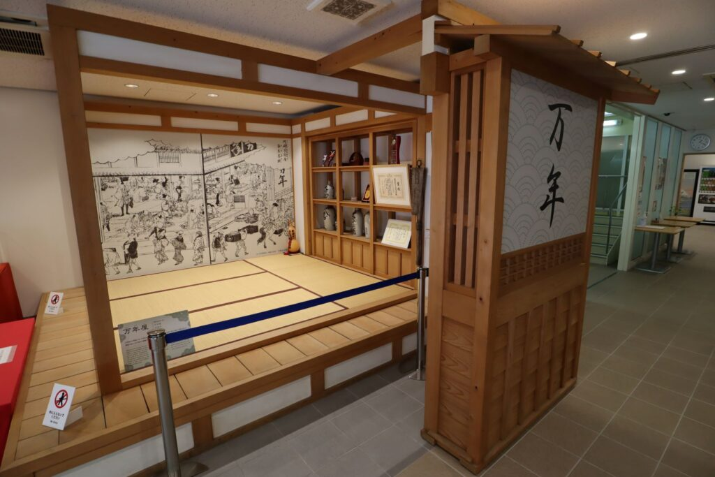 東海道かわさき宿交流館の1F展示室の万年屋