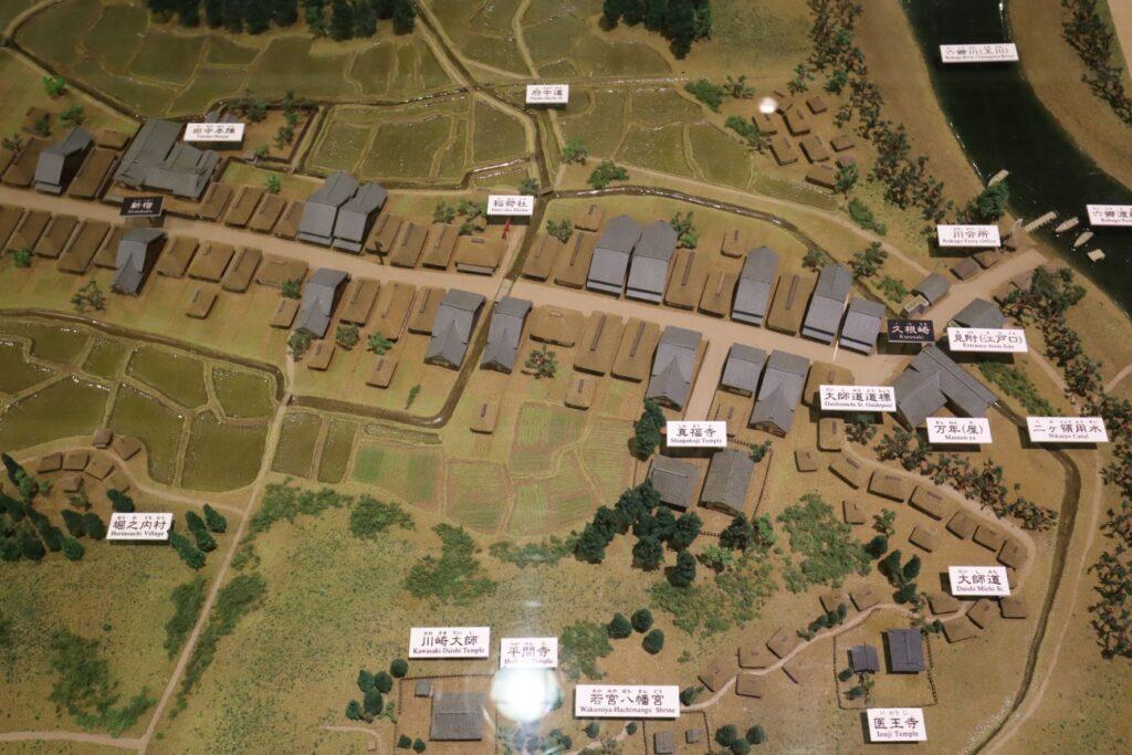東海道かわさき宿交流館の2F展示室の川崎宿模型
