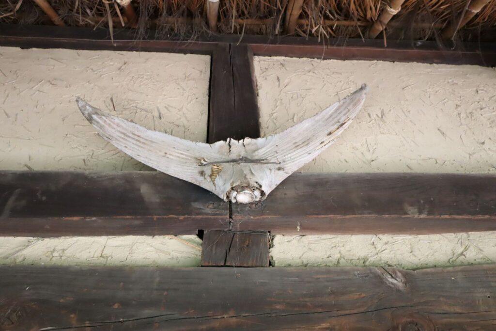 日本民家園の神奈川の村の伊藤家住宅に掲げられたマグロの尾