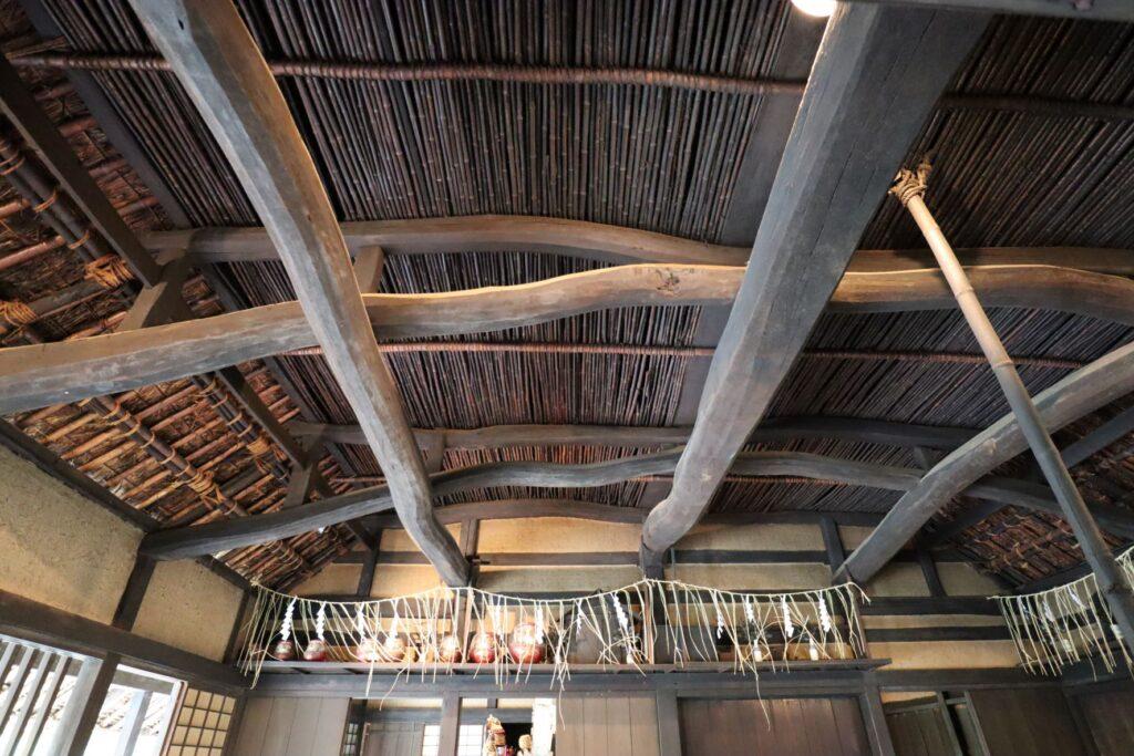 日本民家園の神奈川の村の北村家住宅の天井