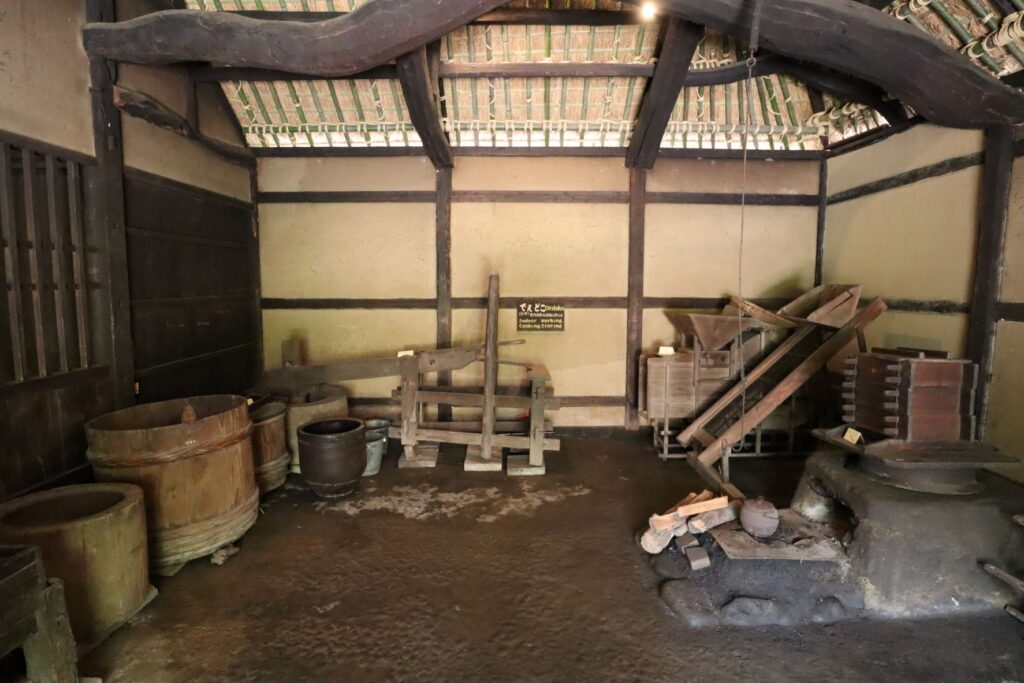 日本民家園の神奈川の村の清宮家住宅土間