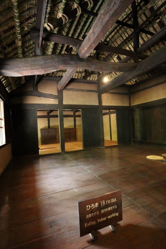 日本民家園の神奈川の村の清宮家住宅広間