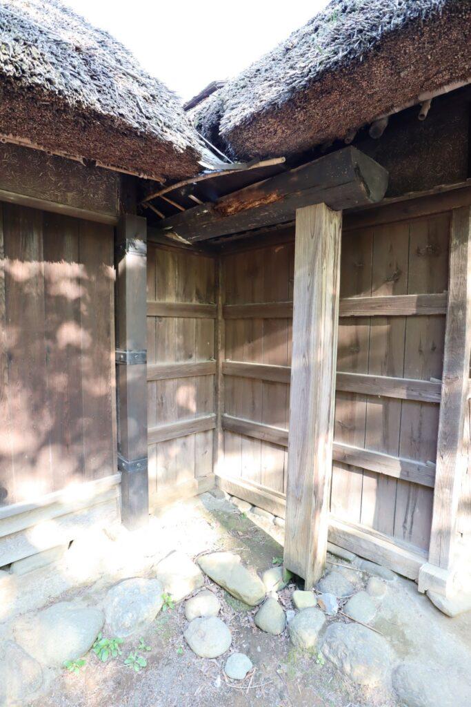 日本民家園の関東の村の太田家住宅雨樋