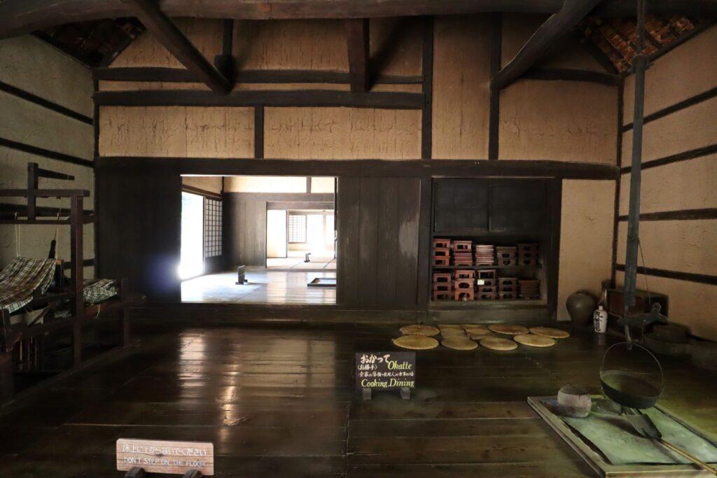 日本民家園の信越の村の佐々木家住宅お勝手