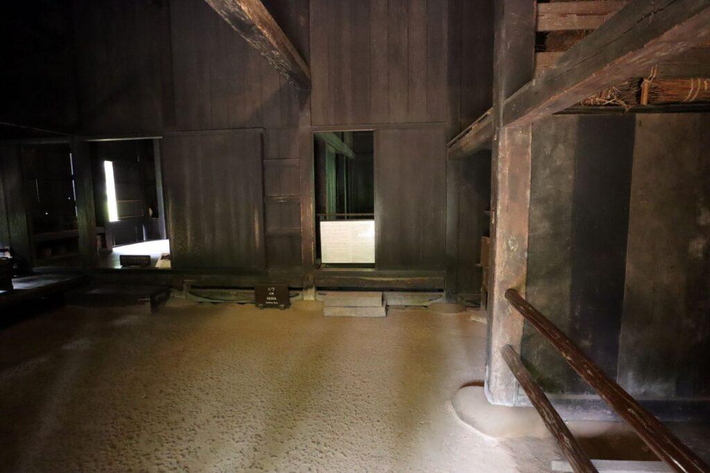 日本民家園の東北の村の菅原家住宅土間