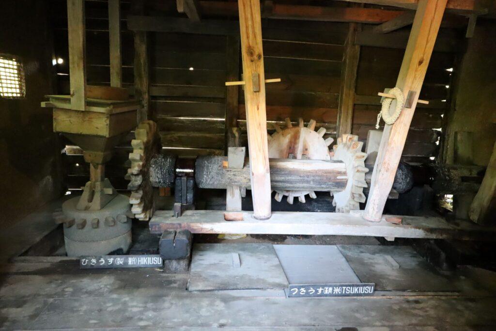日本民家園の信越の村の水車小屋内部