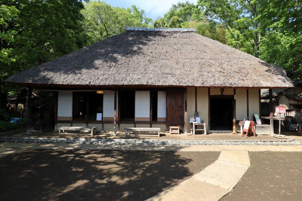 岡本公園民家園の旧長崎家主屋ファサード